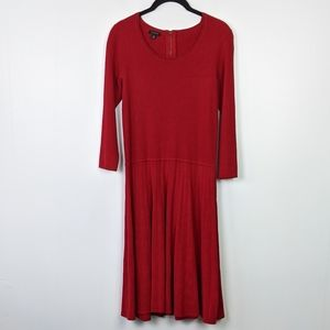 Talbots Red A-Line Pleated Skirt Dress Size XS